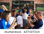 friends watching game in sports ... | Shutterstock . vector #637107214