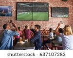 friends watching game in sports ... | Shutterstock . vector #637107283