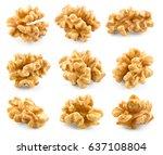 walnut. kernel isolated on... | Shutterstock . vector #637108804