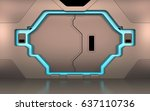 futuristic metallic door  gate... | Shutterstock . vector #637110736