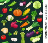 vegetables seamless pattern... | Shutterstock .eps vector #637111333