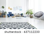 modern living room with sofa ... | Shutterstock . vector #637112233