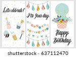 happy birthday party cards set... | Shutterstock .eps vector #637112470