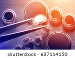 closeup button cell battery or... | Shutterstock . vector #637114150