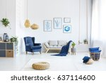 white living room with wood... | Shutterstock . vector #637114600