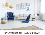 white home interior with sofa ... | Shutterstock . vector #637114624