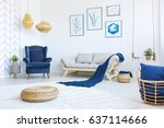 new  white living room with... | Shutterstock . vector #637114666