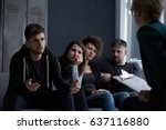 worried young people with bad... | Shutterstock . vector #637116880