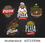 vector collection of pizza... | Shutterstock .eps vector #637119346