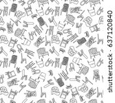 chairs doodle style... | Shutterstock .eps vector #637120840