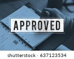 hand stamp on the notebook and... | Shutterstock . vector #637123534