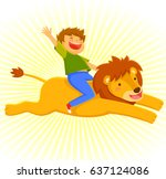 happy courageous boy riding on... | Shutterstock .eps vector #637124086