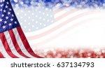 american flag and bokeh... | Shutterstock . vector #637134793