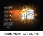 metal bottle engine oil... | Shutterstock .eps vector #637137748