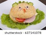 fun food for kids   hamburger... | Shutterstock . vector #637141078