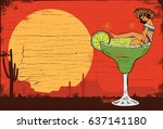 a mexican girl in a margarita... | Shutterstock .eps vector #637141180