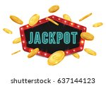 jackpot sign with falling gold... | Shutterstock .eps vector #637144123