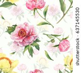 romantic seamless pattern with... | Shutterstock . vector #637145530