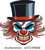 skull clown with top hat | Shutterstock .eps vector #637149868