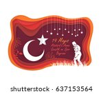 paper art style republic of... | Shutterstock .eps vector #637153564