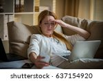 attractive businesswoman on a...   Shutterstock . vector #637154920