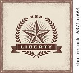 vintage usa liberty label.... | Shutterstock .eps vector #637155664