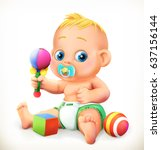 baby and toys. 3d vector icon