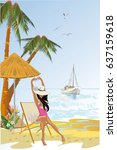 background with a sandy beach... | Shutterstock .eps vector #637159618
