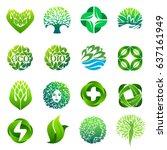 eco  organic  bio icon set....   Shutterstock .eps vector #637161949