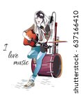 girl musician playing the... | Shutterstock .eps vector #637166410