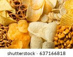 salty snacks. pretzels  chips ... | Shutterstock . vector #637166818