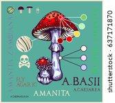 fly agaric mushroom in engraved ... | Shutterstock .eps vector #637171870