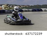 karting championship. driver in ... | Shutterstock . vector #637172239