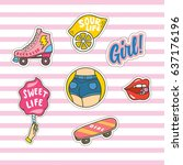 set of cute fashion patches on... | Shutterstock .eps vector #637176196