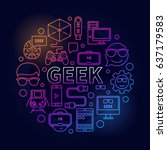 linear colorful geek... | Shutterstock .eps vector #637179583