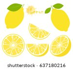 lemon with green leaves  slice... | Shutterstock . vector #637180216