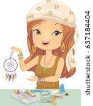 illustration of a girl holding...   Shutterstock .eps vector #637184404