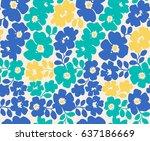vector seamless flower pattern... | Shutterstock .eps vector #637186669