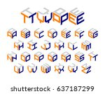 isometric 3d type  three... | Shutterstock .eps vector #637187299