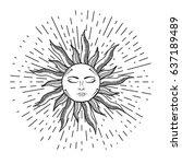 beautiful elegant sun face... | Shutterstock .eps vector #637189489