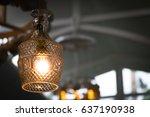 glass luxury lamp in modern... | Shutterstock . vector #637190938