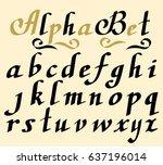 hand lettering alphabet design  ... | Shutterstock .eps vector #637196014