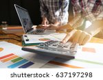 close up businessman and... | Shutterstock . vector #637197298