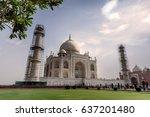 taj mahal from garden view in... | Shutterstock . vector #637201480
