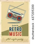 retro party poster design.... | Shutterstock .eps vector #637205200