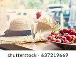 dish with strawberries and... | Shutterstock . vector #637219669