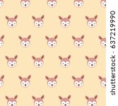 cute stylized cartoon kangaroo... | Shutterstock .eps vector #637219990