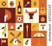 spanish cultural symbols. set... | Shutterstock .eps vector #637222129