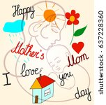 motherhood  childhood family... | Shutterstock .eps vector #637228360