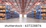 empty warehouse full of cargo.... | Shutterstock . vector #637228876